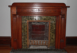 Restored fireplace mantle
